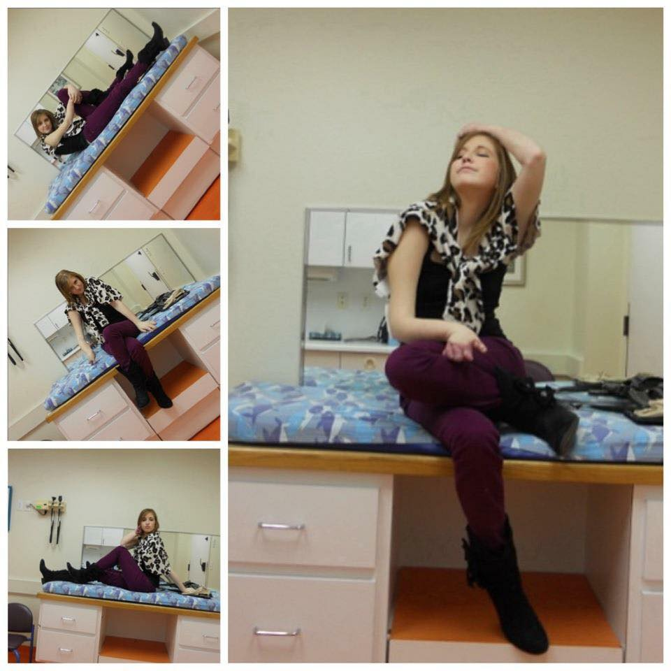 These images are of Lindsey pretending to model in order to pass the time while waiting on doctors.